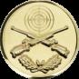 Emblem 25 mm Zielsch. mit Gewehren u. Eichenlaub, gold schießen
