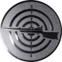 Emblem 25mm Zielsch. mit Gewehr links, silber schießen