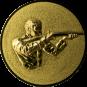 Emblem 50mm Gewehrschütze rechts 3D, gold schießen