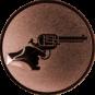 Emblem 50mm Hand mit Revolver, bronze schießen