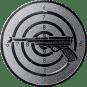 Emblem 50mm Zielsch. mit Pistole, silber schießen