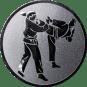 Emblem 50 mm 2 Karatekämpfer, silber