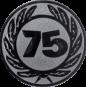Emblem 50 mm Ehrenkranz mit 75, silber