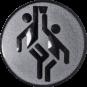 Emblem 50mm 2 Basketballer, silber