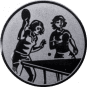 Emblem 50mm 2 Tischtennisspielerinnen, silber