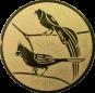 Emblem 50mm 2 Vögel links, gold