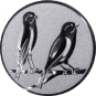 Emblem 50mm 2 Vögel rechts, silber