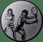Emblem 50mm 2Tennisspielerinnen, silber