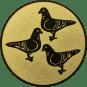 Emblem 50mm 3 Tauben, gold