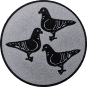 Emblem 50mm 3 Tauben, silber
