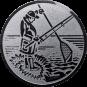 Emblem 50mm Angler m. Angel u. Kescher, silber