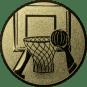 Emblem 50mm Basketball m. Korb 2, gold