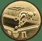 Emblem 50mm Billardspieler links 3D, gold