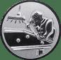 Emblem 50mm Billardspieler rechts 3D, silber