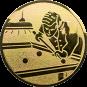 Emblem 50mm Billardspieler rechts, gold