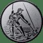 Emblem 50mm Fliegenangerler im Wasser, silber