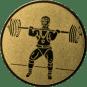 Emblem 50mm Gewichtheber Stossen, gold