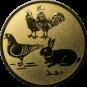 Emblem 50mm Hahn, Henne, Taube, Hase, gold