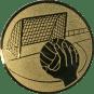 Emblem 50mm Handball mit Tor, gold