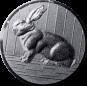 Emblem 50mm Hase 3D, silber