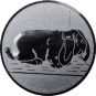 Emblem 50mm Hase mit Schlappohren, silber