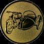 Emblem 50mm Motorrad mit Beiwagen, gold