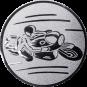 Emblem 50mm Motorradfahrer 1, silber