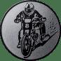 Emblem 50mm Motorradfahrer 2, silber
