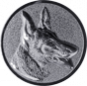 Emblem 50mm Schäferhund 3D, silber