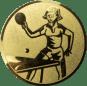 Emblem 50mm Tischtennisspielerin, gold