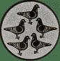 Emblem 50mm 5 Tauben, silber