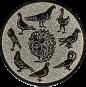 Emblem 50mm 9 Tauben (Kreis), silber