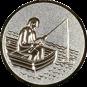 Emblem 50mm Angler im Boot 3D, silber