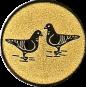 Emblem 50mm 2 Tauben, gold