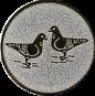 Emblem 50mm 2 Tauben, silber