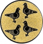 Emblem 50mm 4 Tauben, gold