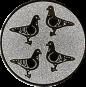 Emblem 50mm 4 Tauben, silber