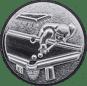 Emblem 50mm Billardspieler links 3D, silber