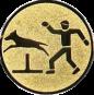 Emblem 50mm Hundesport mit Hindernis, gold