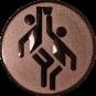 Emblem 25mm 2 Basketballer, bronze