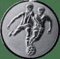 Emblem 25mm 2 Fußballer 3D, silber