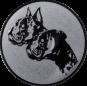 Emblem 25mm  2 Hundeköpfe, silber