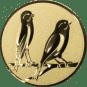 Emblem 25mm 2 Vögel rechts, gold