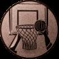 Emblem 25mm Basketball m. Korb 2, bronze