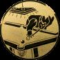 Emblem 25mm Billardspieler links,  gold