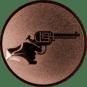 Emblem 25mm Hand mit Revolver, bronze schießen