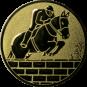 Emblem 25mm Springreiter Mauer, gold