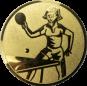 Emblem 25mm Tischtennisspielerin, gold