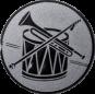 Emblem 25mm Trommel Trompete, silber