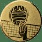 Emblem 25mm Volleyball mit Hand, gold